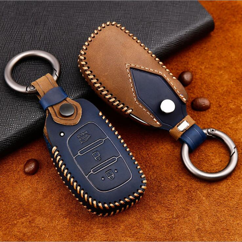 Genuine Leather Car Key Case Cover Protection Shell Skin For Hyundai iX20 I30 IX35 I40 Ix25 Tucson Verna Sonata Car Keyring