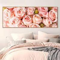 Pintura de diamante completo 128x48cm patrón de rosa pintura decorativa mosaico hecho a mano de diamantes de imitación, flores, bordado de diamantes Diy