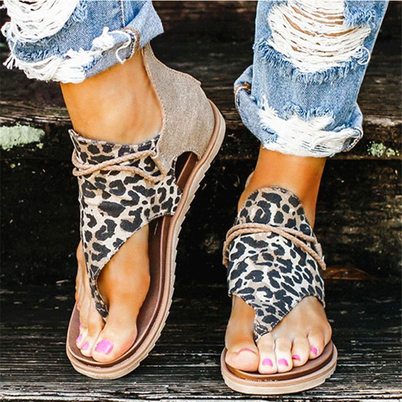 2020 Women Sandals Leopard Print Summer Shoes Woman Zip Gladiator Comfortable Shoes Female Beach Casual Footwear Large Size