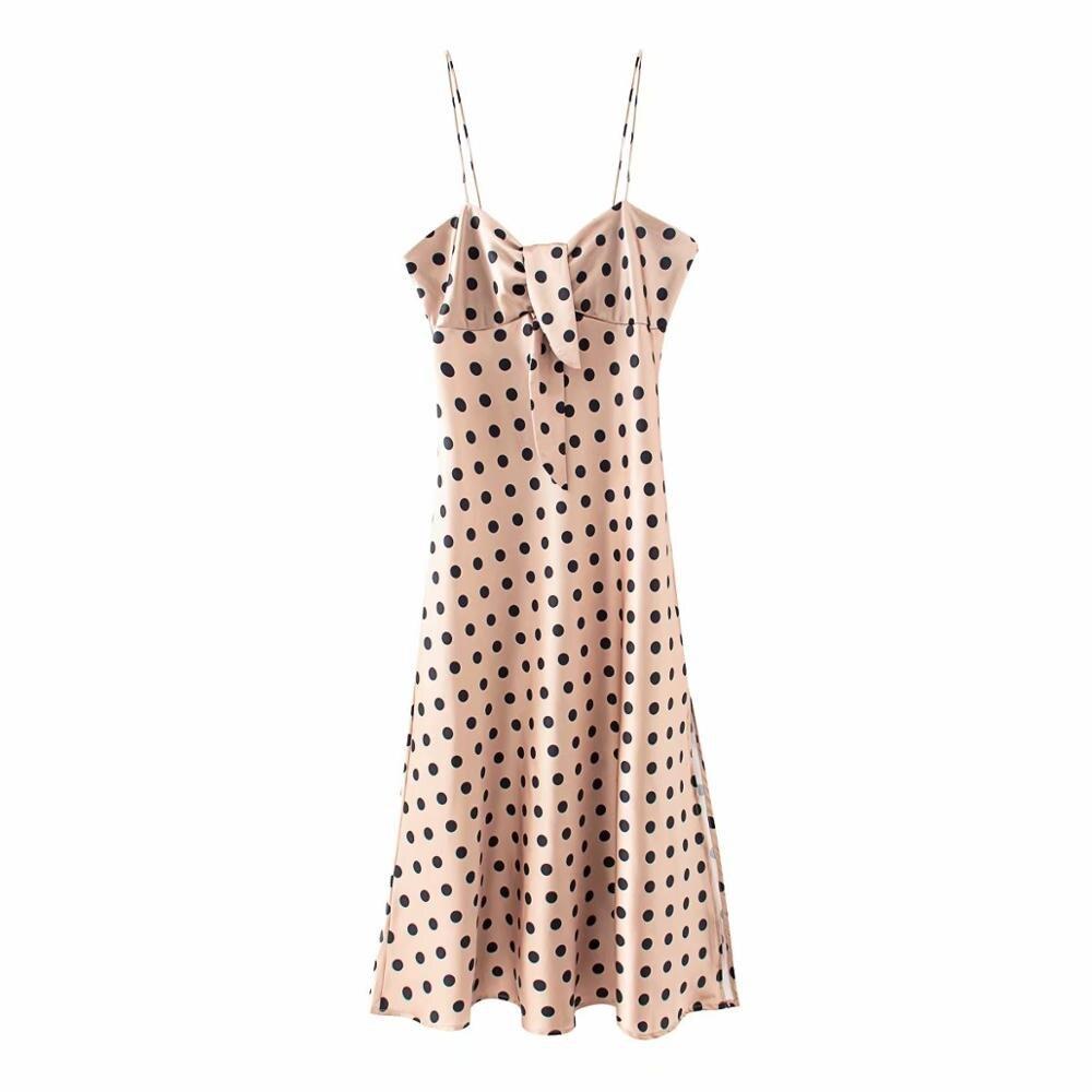 women elegant polka dot print spaghetti strap midi dress ladies sexy chest bow tie vestidos chic side split party dresses DS3682