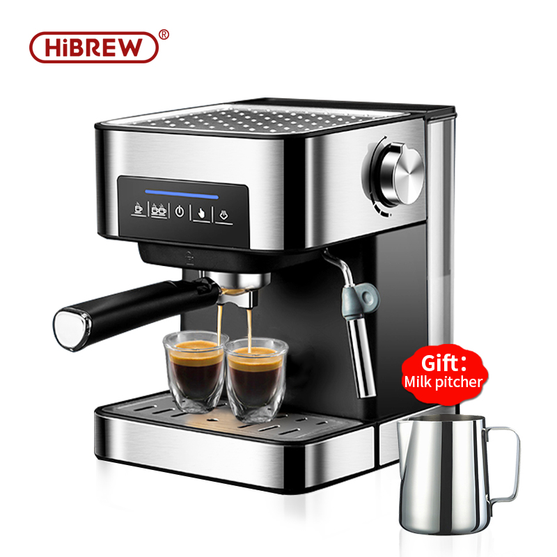 HiBREW Espresso Coffee Machine Inox Semi Automatic Expresso Maker,cafe  Powder Espresso Maker, Cappuccino