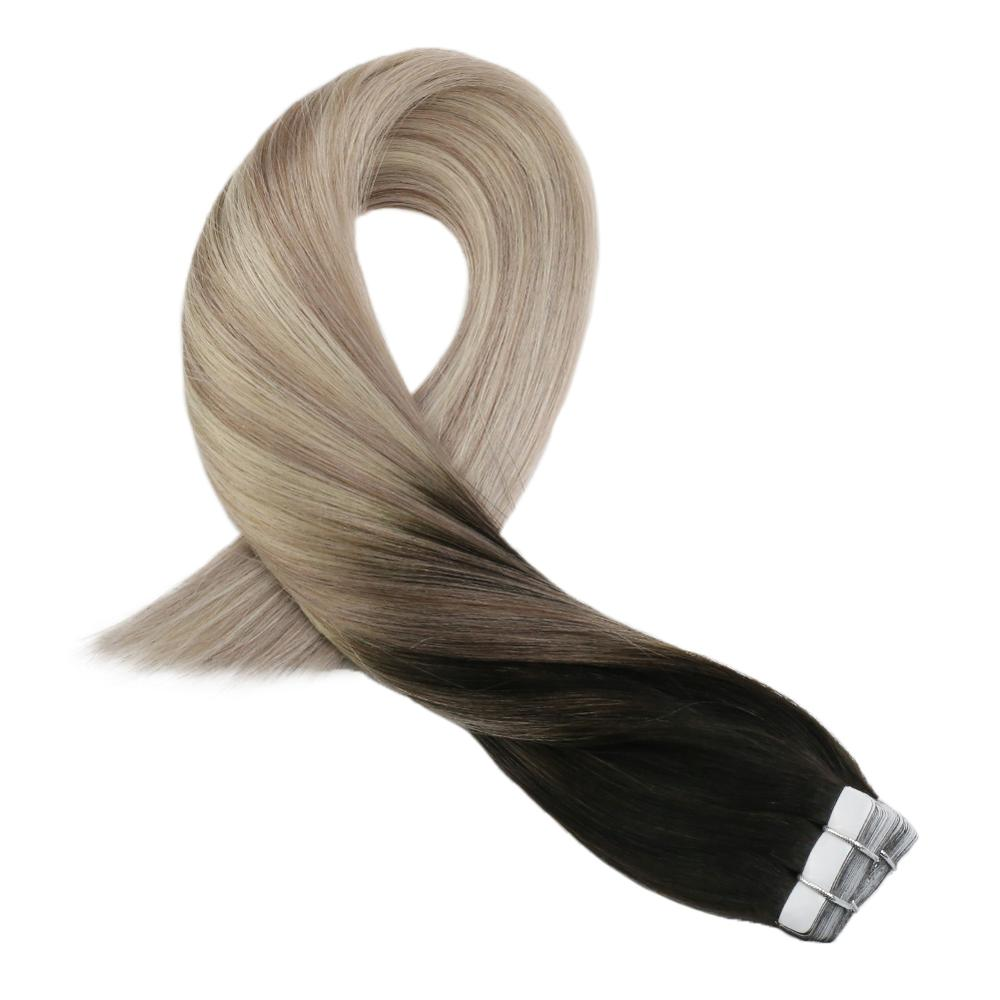 Moresoo Hair Extensions Tape In Human Hair Balayege Coloe #1B Off Black Ombre To Brown And Blonde Skin Weft Machine Remy Hair