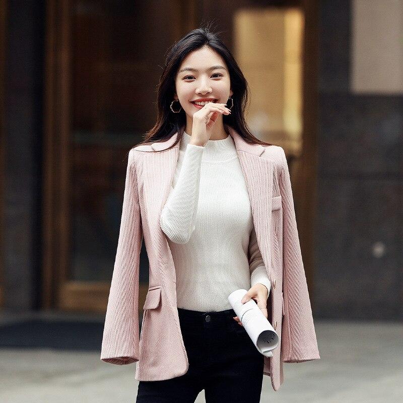 Winter New Women's Suit High Quality Temperament Slim Single Breasted Stripe Ladies Pink Blazer 2019 Office Jacket Female