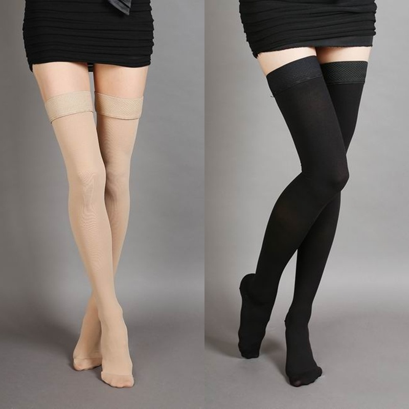 Hot Sale 2019 Anti-Slip Vein Elastic Stockings Thigh High 25-30mmHg Medical Compression Closed Toe Stockings Female