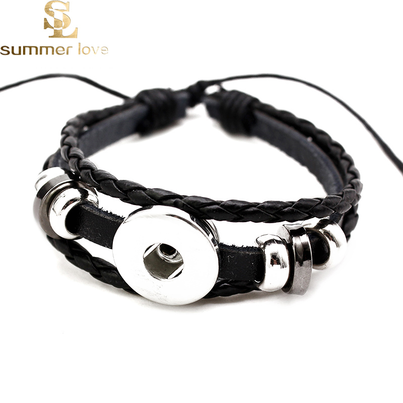 Personalized Bracelet Customized Snap Button 18mm Handmade Multilayer Braided Leather Bracelet DIY Adjustable Mens Accessories