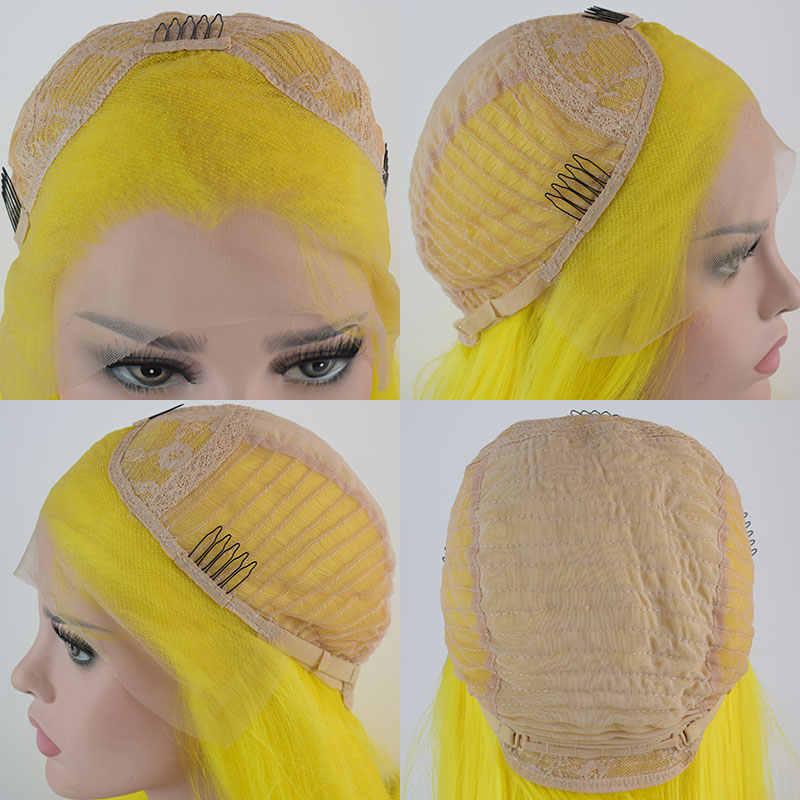 Желтый прямой парик с синтетическими волосами на шнуровке спереди, парик из термостойкого волокна, натуральные волосы, средний парик для женщин, парики