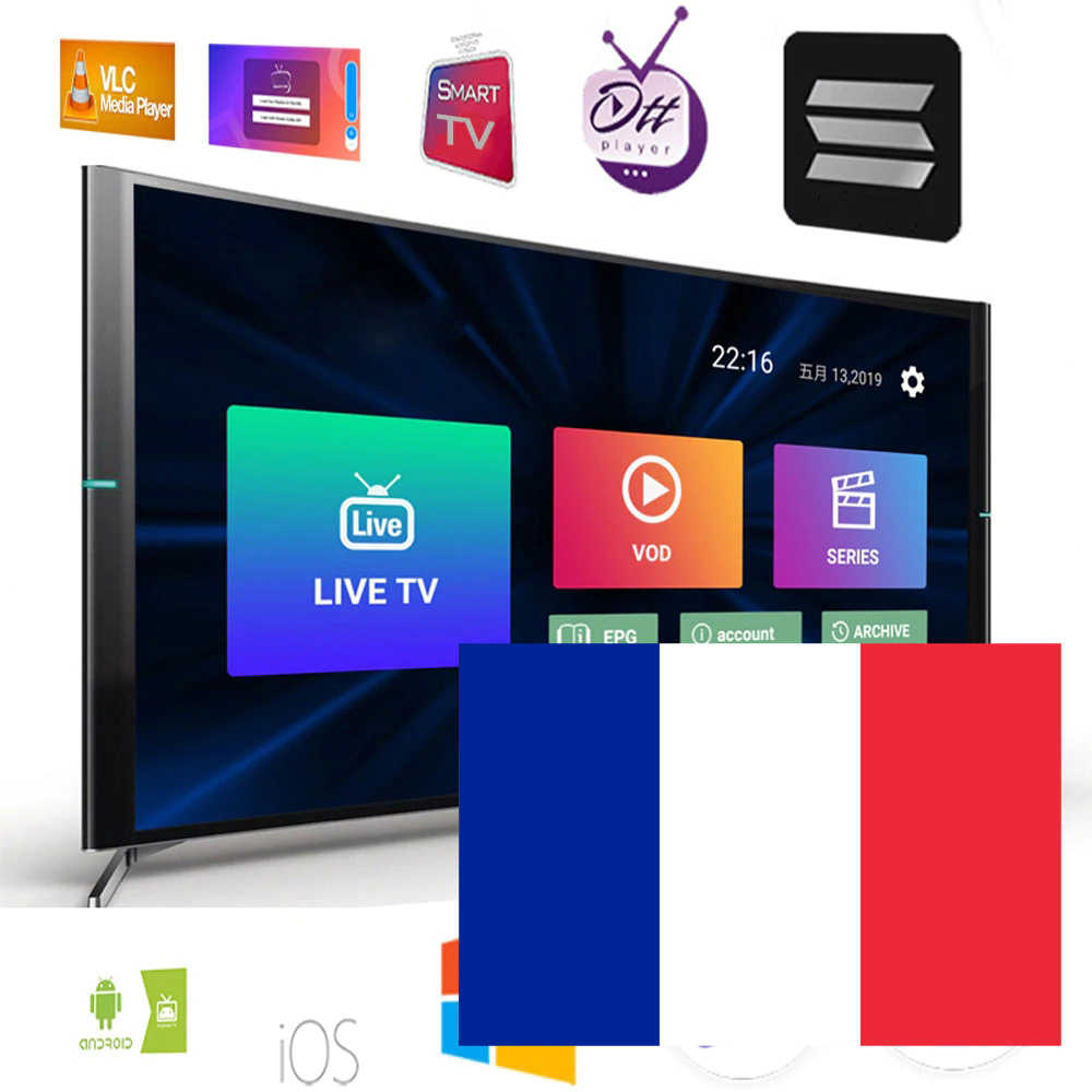 Europe IPTV France m3u abonnement Canada Canal français RMC Sport Orange cinéma pour Smart TV Box Android TV IPTV Smarters H96max