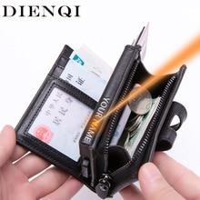 DIENQI винтажный кожаный держатель для Карт RFID, мужской Умный кошелек для бизнеса, большой держатель для карт, Карманный чехол, защитная сумка