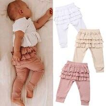 Ruffles Дети Девочка оборками PP сплошной цвет с эластичной резинкой на поясе и на штанах брюки детская одежда
