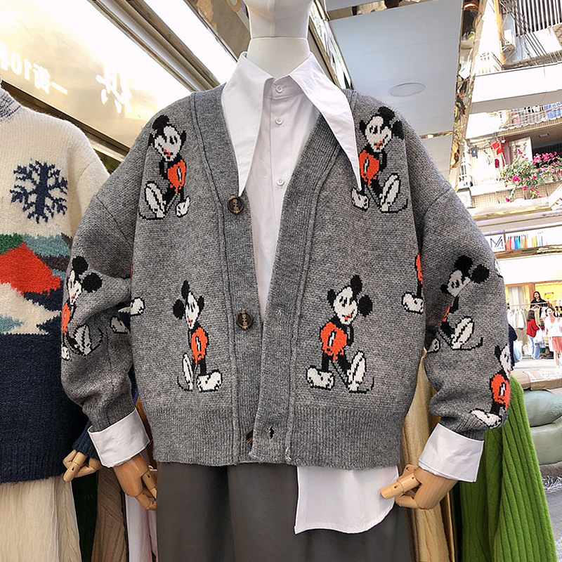 New Autumn And Winter Women V-Neck Cartoon Mickey Cardigan Sweater Loose Knitted Jacket Long Sleeve Casual Knitwear Jackets