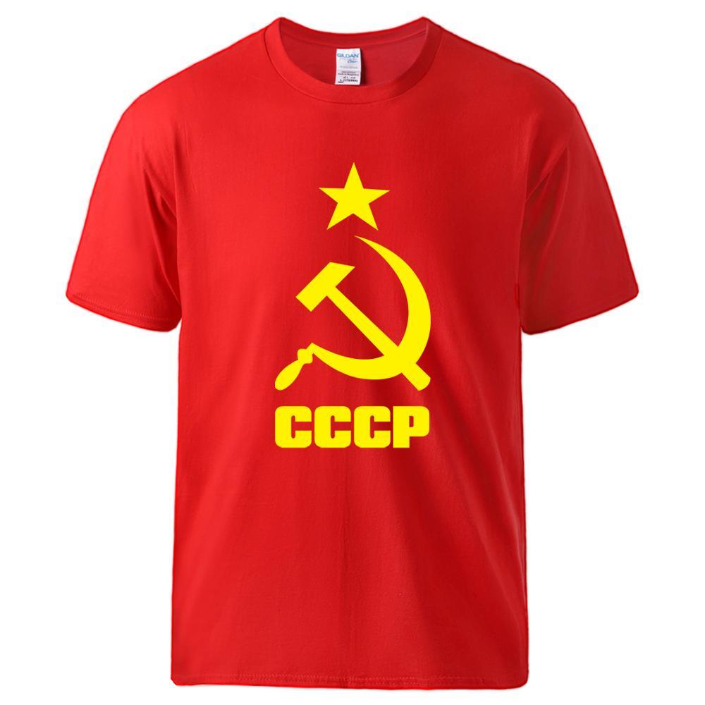 Cccp Russian Ussr Soviet T Shirt Man Summer Cotton Sportswear Hip Hop Short Sleeve Tshirt Tee 2020 Hot Sell Loose Fit Streetwear