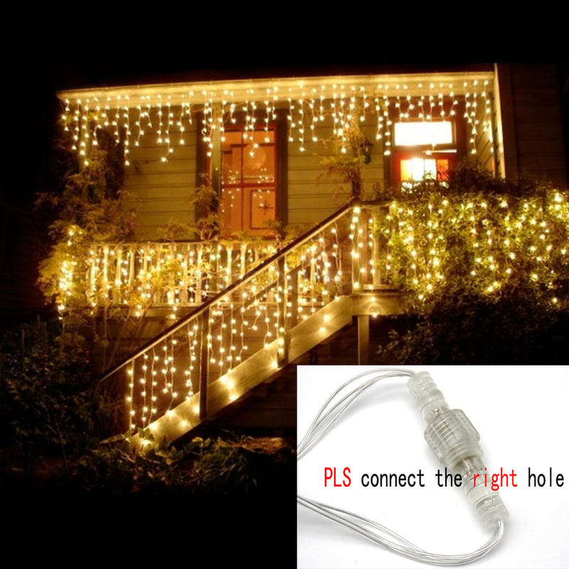 4M 96LEDS/5M 216LEDS Christmas Lights New Year Street Garland Icicle 0.4-0.6M With Tail String Lights For Decoration Christmas