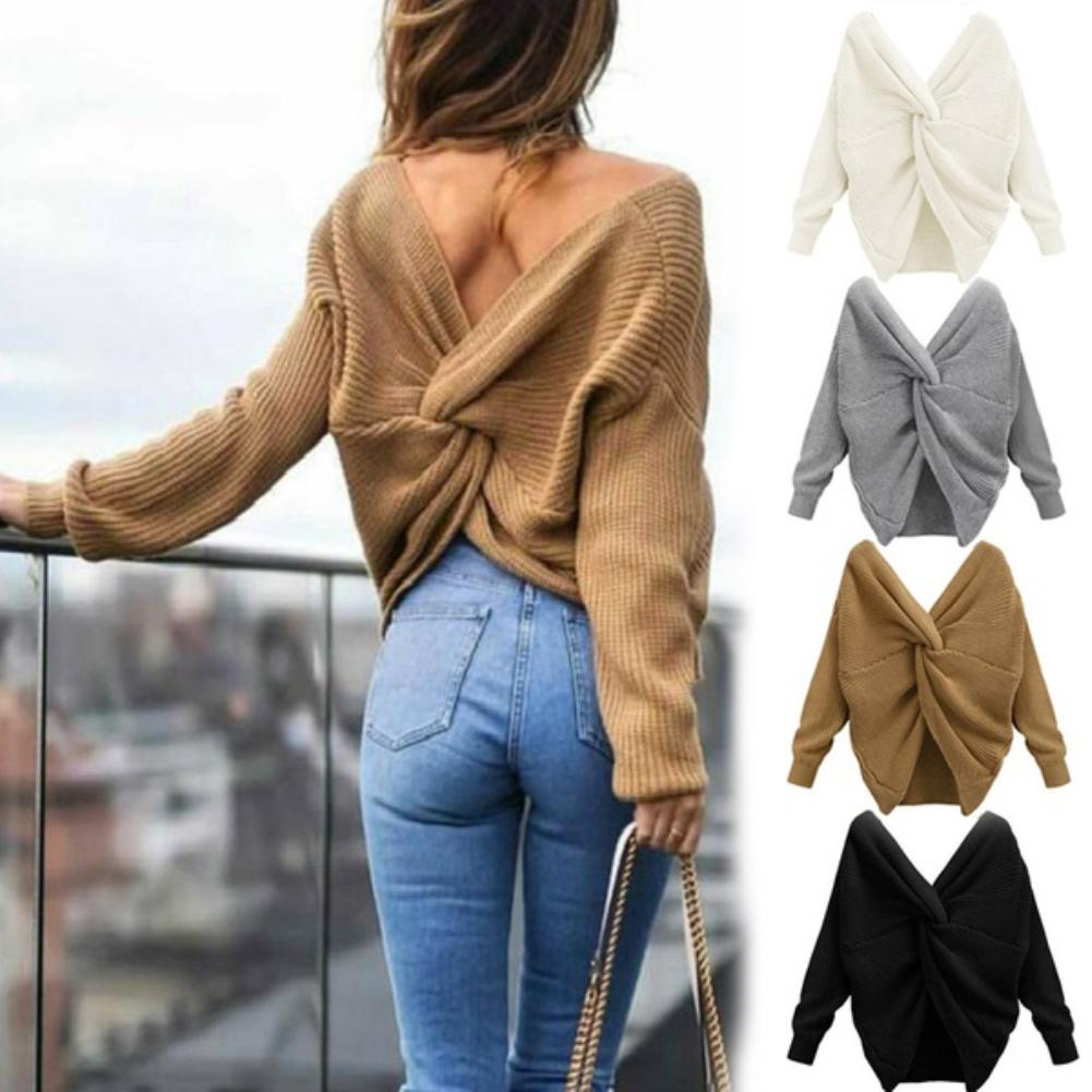 Sexy Solid Color Sweater Women V Neck Twisted Back Knot Sweater Long Sleeve Jumper Pullover One Size Loose Warm Sweater свитер