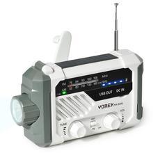 Yorek Emergency AM FM Radio, Hand Crank Battery Operated Solar Radio with LED Flashlight, Desk Lamp,2000mAh Charger,SOS Alert
