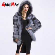 2019 winter coat women fluffy hoodie faux fur coat women Winter grey jacket coat female Plus size warm long casual overcoat(China)