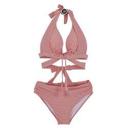 Новая Корейская версия женских купальных костюмов раздельное бикини Двухсекционный набор с большой грудью сексуальный горячий весенний к... 5
