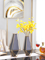 Modern Romantic Dining Table Geometric Black Metal Vase With Gold Frame Home Room Decor Dry Flower vaso decorativo Ornaments