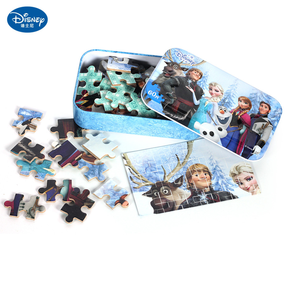 Disney 60 Piece Princess Frozen Wooden Box Puzzle Early Education Children Bottom Box Puzzle Toys Girl Birthday Present Kid Toys