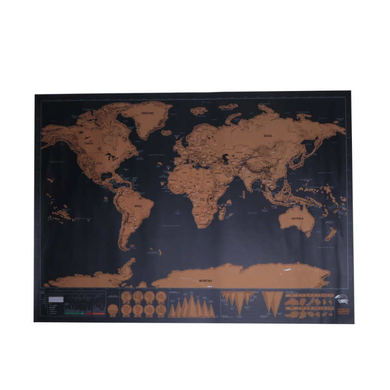 World Map Travel Edition Deluxe Scratch Map Personalized Poster Traveler Gift Q6PA