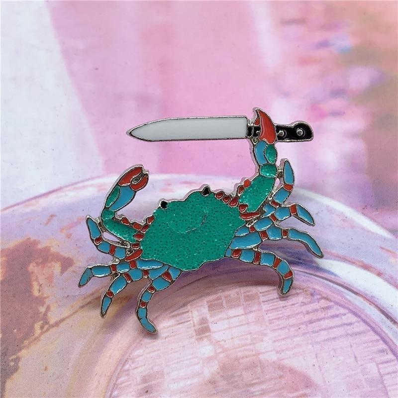 Эмалированная брошь в виде зеленого краба с зажимом, брошь в виде ножа, джинсовая брошь для джинсов, рубашки, сумки, водных животных, ювелирн...