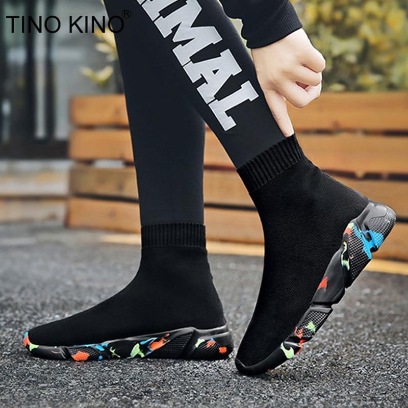 Sock Shoes Sneakers Ankle-Boots Female Autumn Ladies Platform Comfort Plus-Size Women