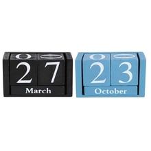 Calendario de mesa de madera Vintage creativo bloque de madera de escritorio Indicador de fecha del mes decoración de la Oficina del hogar azul negro