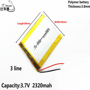 3 line Good Qulity Liter energy battery 3.8V,2320mAH 385669 Polymer lithium ion / Li-ion battery for tablet pc BANK,GPS,mp3,mp4 image