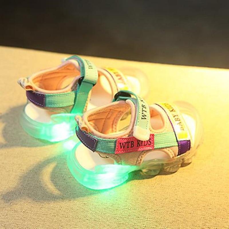 New Boys Sandals Letter Led Light Luminous Baby Kids Sport Shoes Fashion Soft Flat Shoes Children Beach Sandals