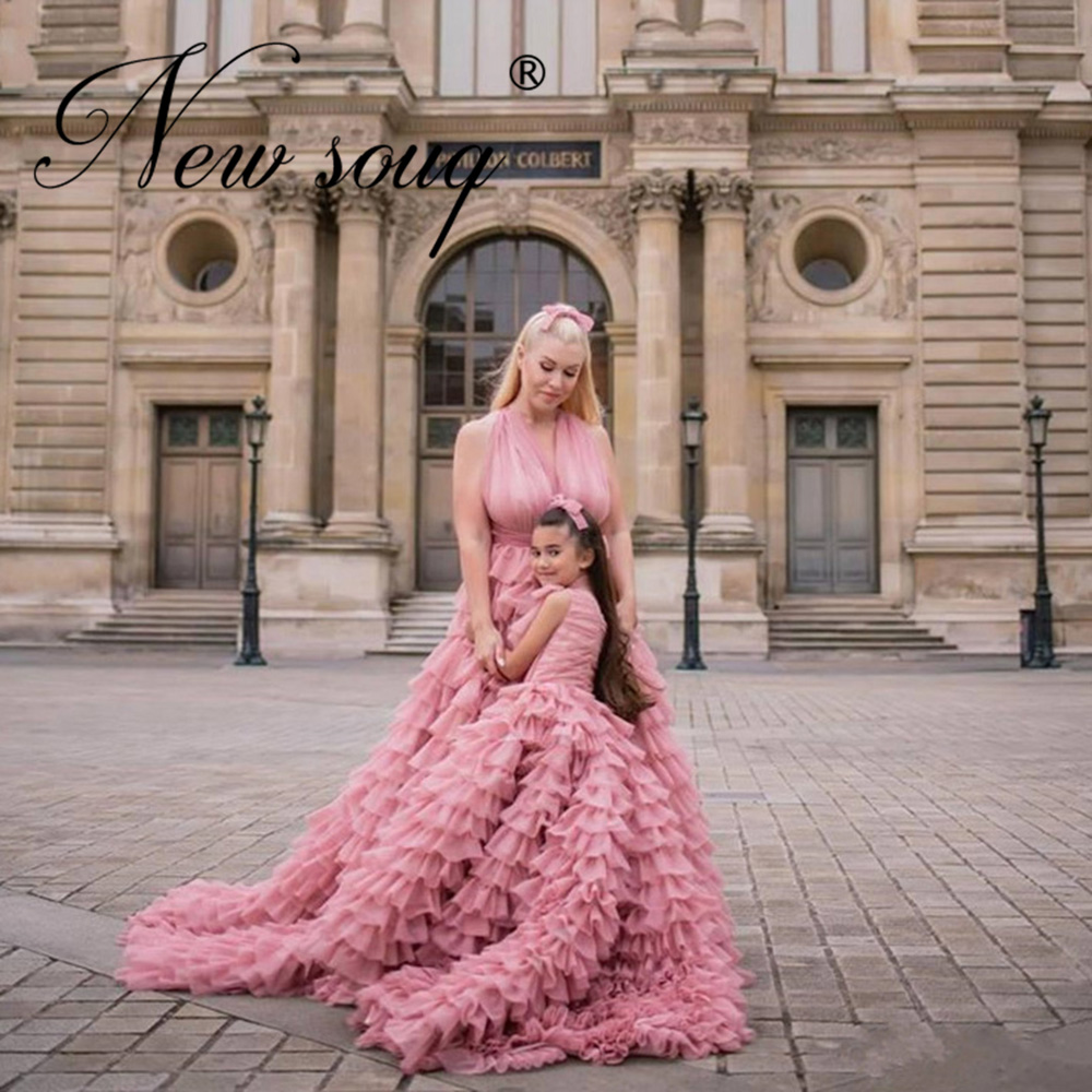 Princess Pink Long Evening Dress Formal Tiered Gowns Vestidos Customize 2020 Saudi Arabic Celebrity Prom Dresses Dubai Aibye Special Offer Bc790 Cicig