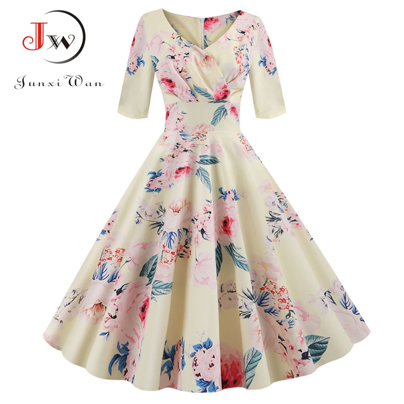 Women Flower Print Autumn Dress Casual Winter Half Sleeve Elegant Vintage Dress Robe Femme Plus Size Pinup Office Party Vestidos
