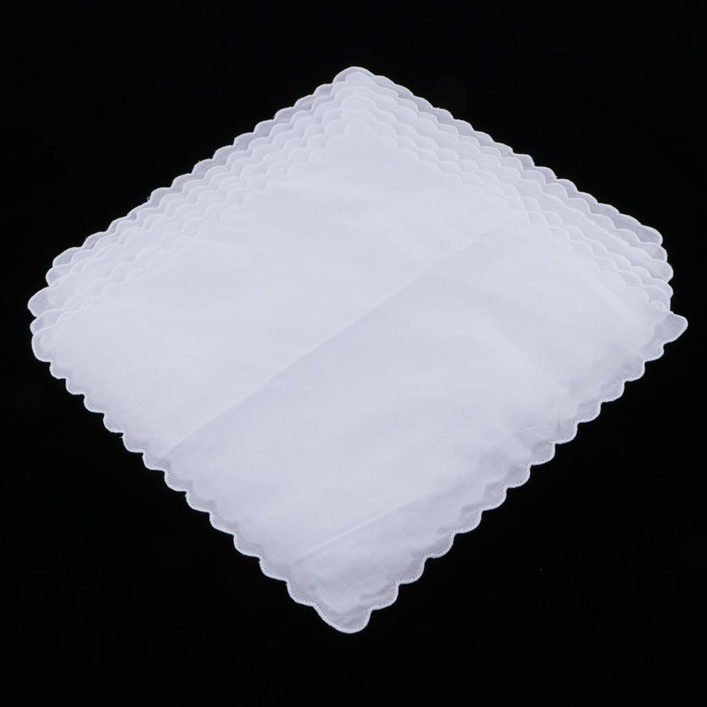 6x 100% Cotton Hanky DIY Blank Handkerchiefs White Hankie Kerchief Wavy Edge