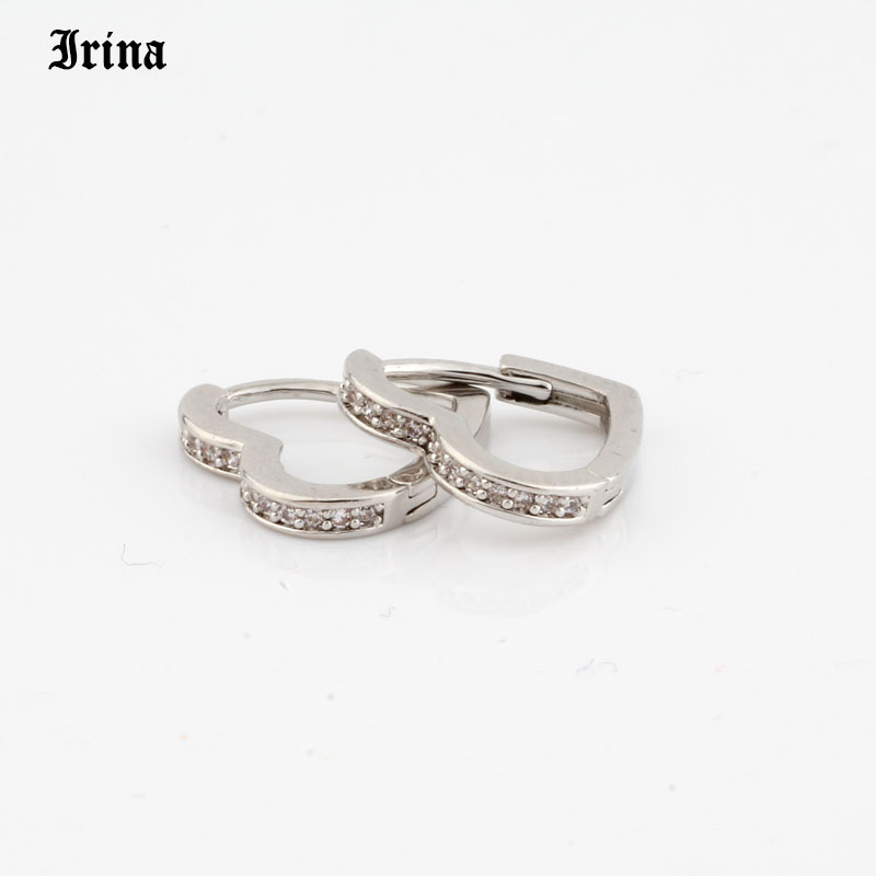 Hoop Earrings Small Heart-shaped earring 585 rose gold color with exquisite zircon fashion earrings Jewelry Wedding accessories 3