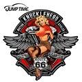 JumpTime 13 см x 12,1 см 3D сексуальная девушка Knucklehead мотоциклы RT66 с изображением девушке в стиле пин-ап Водонепроницаемый окна автомобиля бампер ак...