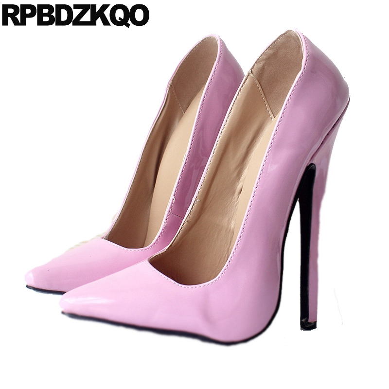 12 44 patent leather big size thin pointed toe shoes ultra <font><b>18cm</b></font> <font><b>sexy</b></font> <font><b>high</b></font> <font><b>heels</b></font> ladies pink pumps exotic dancer 13 45 fetish image