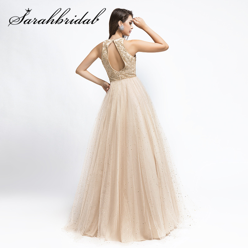 Charming Ceremony Evening Dresses Floor Length 2020 New Sleeveless O-neck Beading Sequined Beaded Tulle Prom Party Gown CC5525
