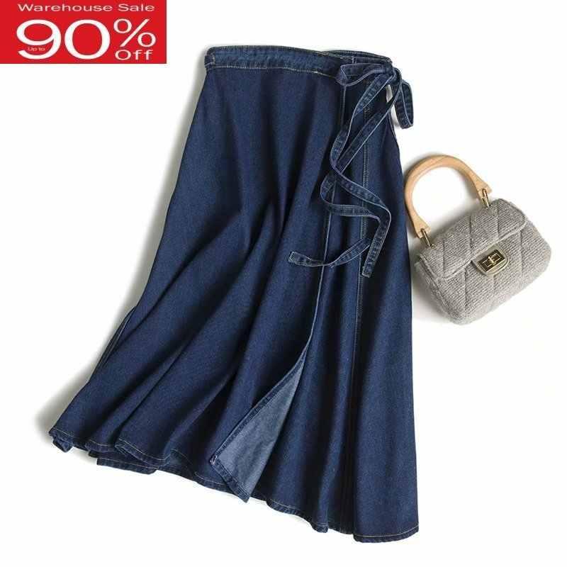 2020 outono uma linha denim rendas até saias longas de cintura alta lado split elegante streetwear