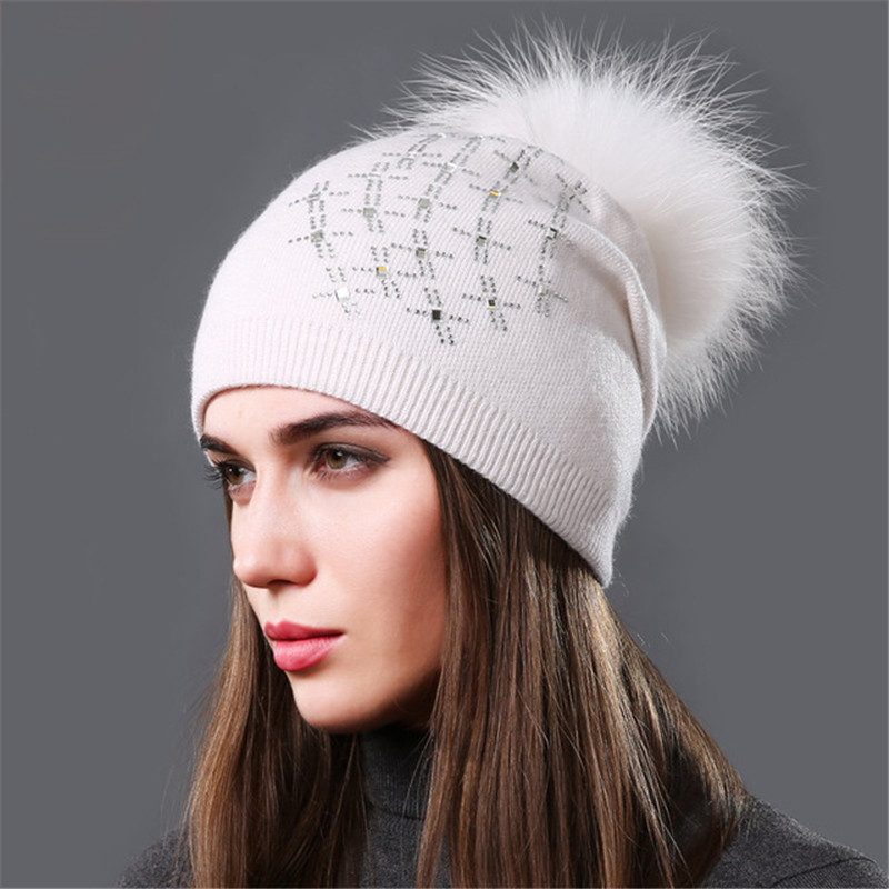Winter Women's Wool Knitted Hats Fashion Rhinestone Sequins Cashmere Slouchy Beanie Hat With Raccoon Fur Pompom Warm Skullies