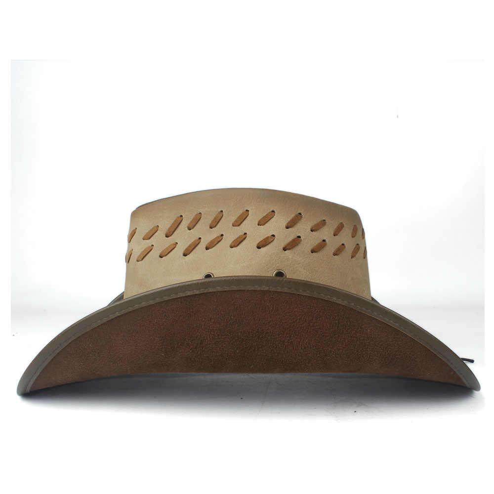 100% кожаная мужская и женская западная ковбойская шляпа широкая шляпа Открытый Sombrero Hombre джаз шляпа