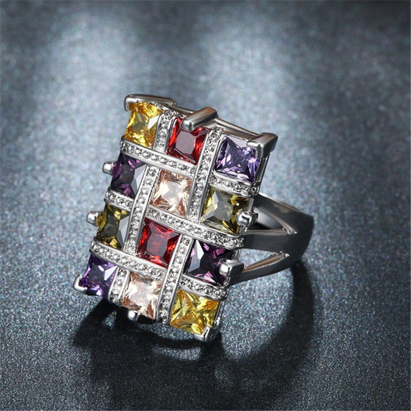 YWOSPX Luxury Silver Big Square Rings for Women Jewelry Wedding Crystal Zircon Anel Engagement Anillos Statement Ring Gifts Y35 5