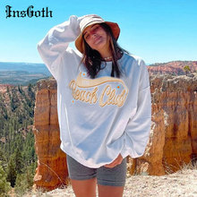 InsGoth White Oversize Letter Print Hoodies Harajuku O Neck Pullover Sweatshirts Y2K Women Casual Autumn Long Sleeve Hoodies