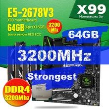 HUANANZHI Conjunto de placa base Intel Xeon E5 2678 V3 X99 F8 con LGA2011 3 DDR4 y 2011 64GB = 16GB * 4 Uds. De memoria REG ECC de 3200MHz