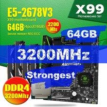 Huananzhi intel xeon e5 2678 v3 x99 f8 placa mãe conjunto com ddr4 LGA2011 3 e 2011 64gb = 16gb * 4 pces 3200mhz memória reg ecc