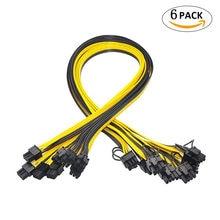 6 шт. 6-контактный PCI-E до 8 контактов (6 + 2) PCI-e (штекер-штекер) силовой кабель GPU 50 см для графических карт Mining HP Серверная коммутационная плата