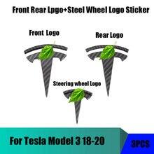 Para tesla modelo 3 padrão de fibra carbono frente traseira t logotipo + volante t logotipo 3 peças
