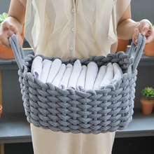 Storage Basket Linen Crochet Handmade Laundry Basket Natural Fabric Baby Toys Child Clothes Desktop Foldable Organizer