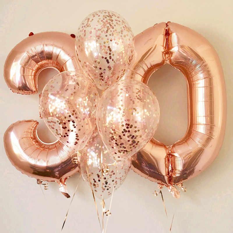 עלה זהב כסף גדול מספר רדיד בלוני יום נישואי יום הולדת מסיבת קישוט ספרות ילדים למבוגרים אוויר הליום בלון