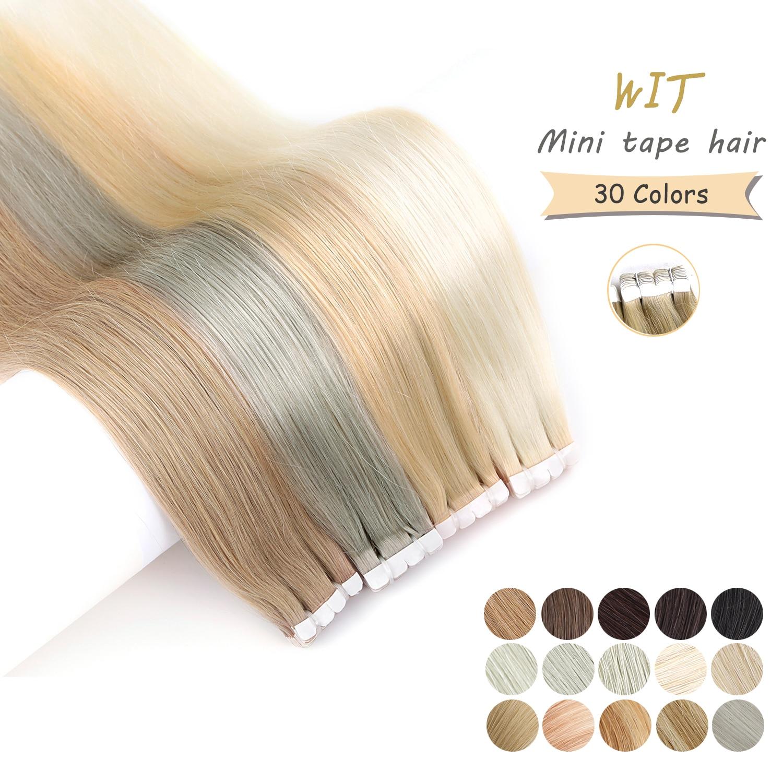 Миниатюрная лента для наращивания волос, 30 цветов, натуральные бесшовные Невидимые 100% натуральные прямые человеческие волосы, лента для на...