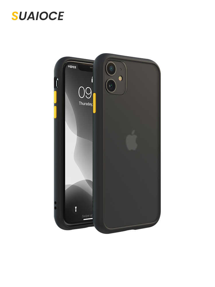 Suaioce Originele Shockproof Armor Case Voor Iphone 11 Pro Max X Xs Xr Max 7 8 Plus Se 2020 Transparant cover Luxe Siliconen Case