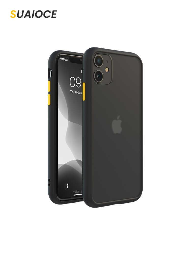 SUAIOCE Asli Shockproof Armor Case untuk iPhone 11 Pro Max X XS XR MAX 7 8 Plus SE 2020 Transparan cover Mewah Silicone Case