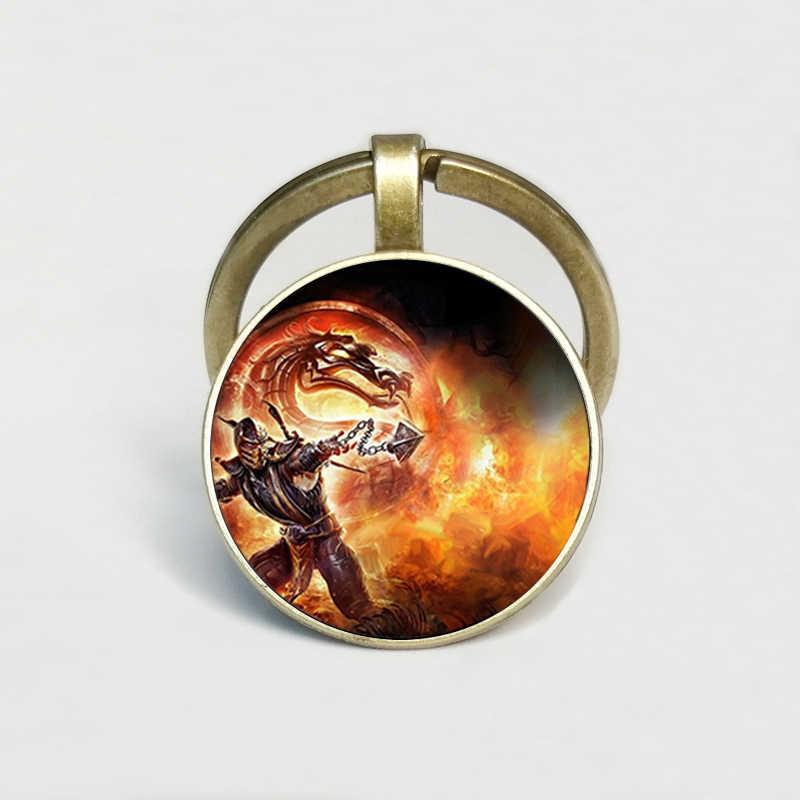 Nieuwe Collectie Mortal Kombat Sleutelhanger Creatieve Handgemaakte Glas Dome Schorpioen Sub Zero Sieraden Steampunk Sleutelhanger Sieraden